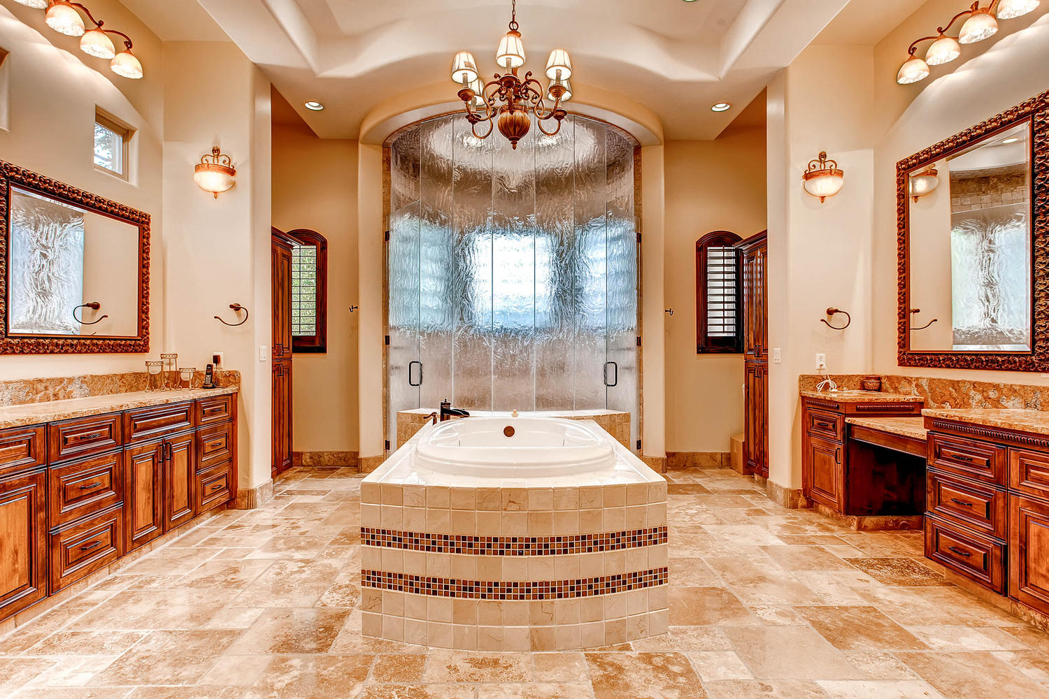Gorgeous custom home in gated whitewing elite desert realty for Huge master bathrooms